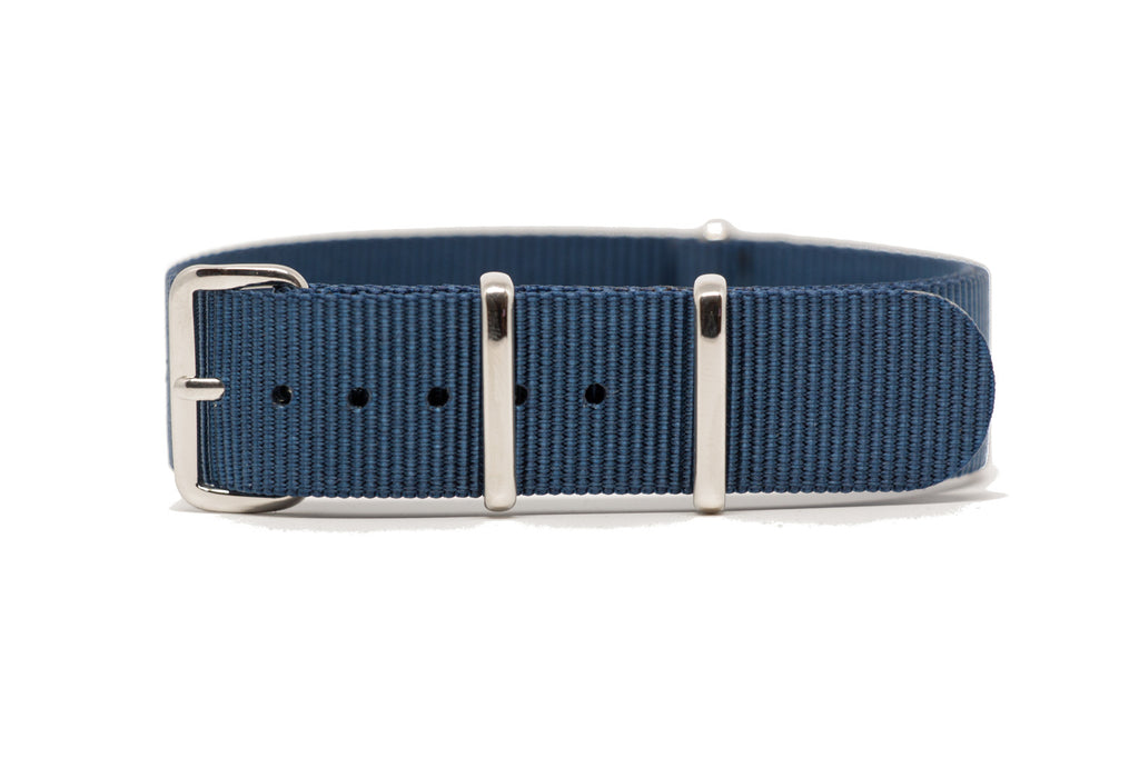 18mm Dark Blue Premium NATO Strap w/Polished Hardware