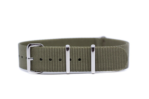 18mm Dark Olive Green Premium Strap w/Polished Hardware