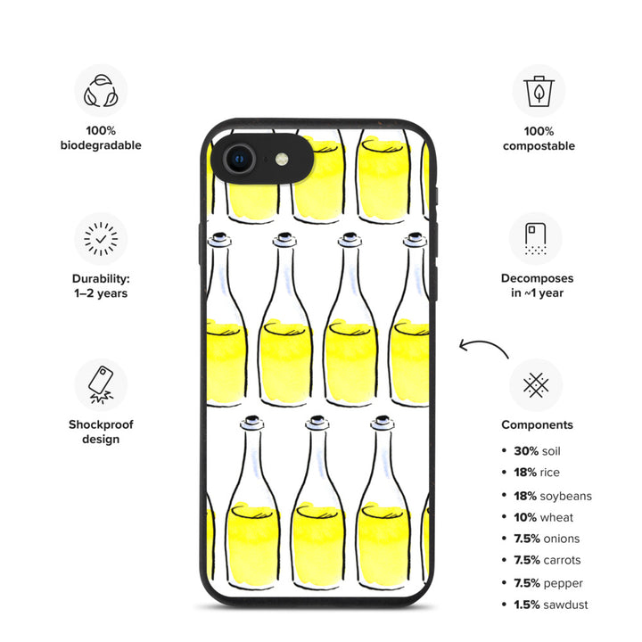 White Wine Artwork - Biodegradable iPhone case