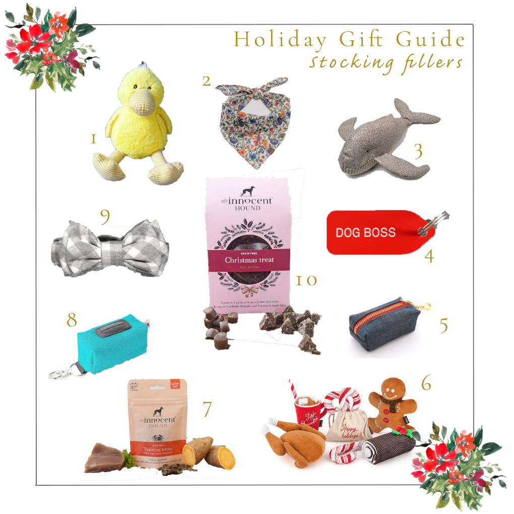 Holiday Gift Guide Stocking Fillers 2019 for Dogs Ginger and Bear