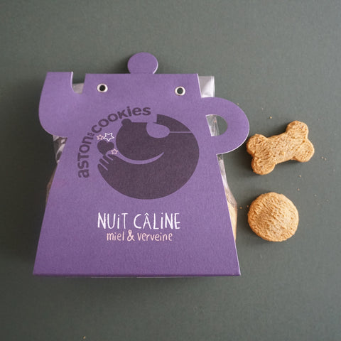 Astons Cookies Bedtime Dog Treats Nuit Caline with Miel and Verviene Honey and Verbena