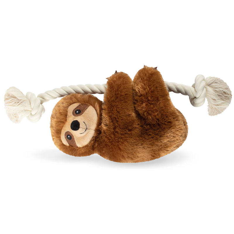 Stanley Brown Sloth on a Rope Dog Squeaky Plush toy
