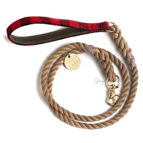 Rope Leash, Buffalo Plaid Red
