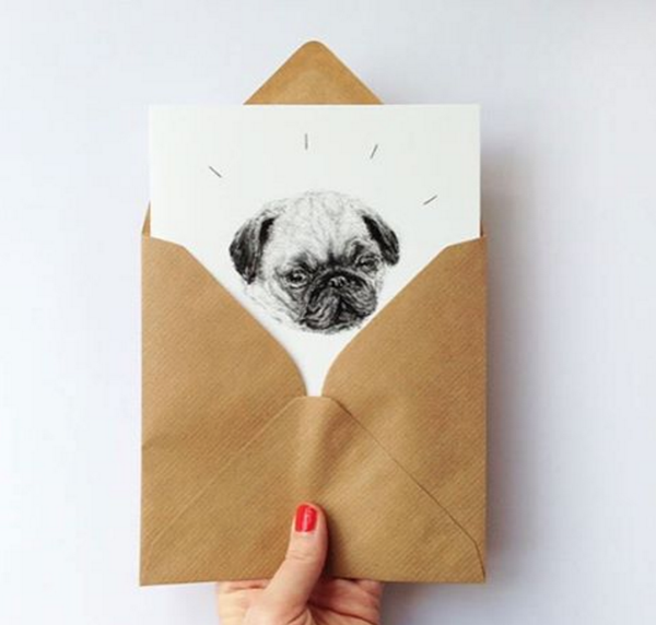 Greeting card: HelloHarriet Pug