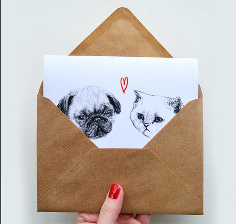 Greeting card: HelloHarriet Pug + Kitty