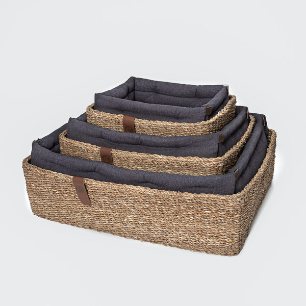 Hideaway Basket Dog Bed, Plum