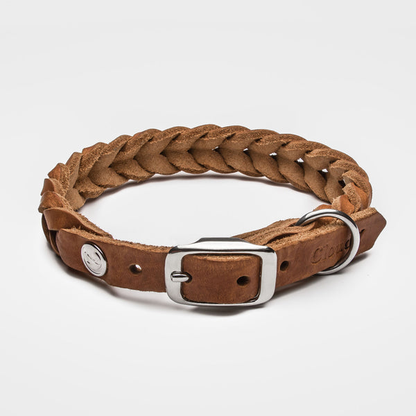 Cloud7: Central Park Leather Dog Collar, Camel