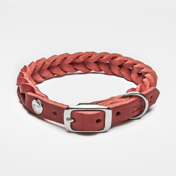 Cloud7: Central Park Leather Dog Collar, Merlot