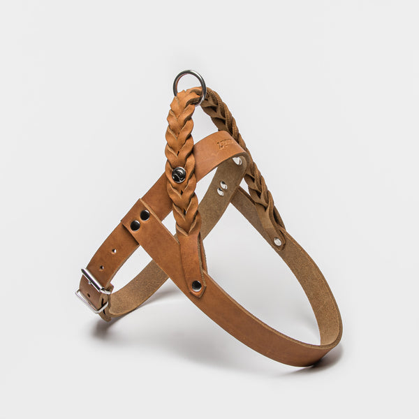 Cloud7: Central Park Leather Dog Harness, Camel