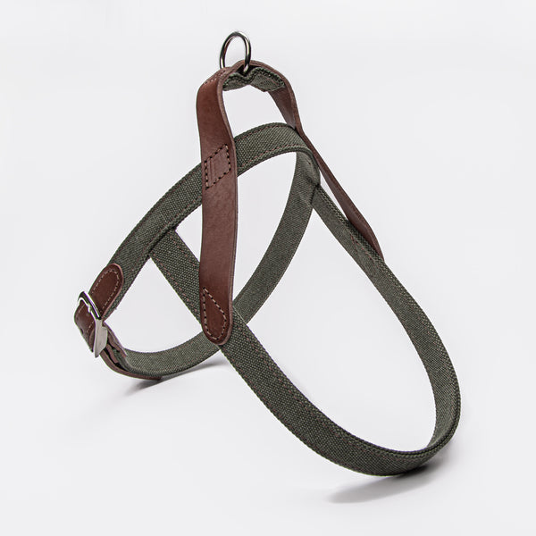 Cloud7: Tivoli Dog Harness in Canvas Leather, Olive
