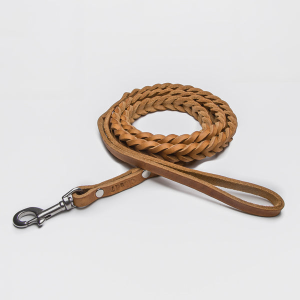 Cloud7: Central Park Leather Dog Leash, Camel