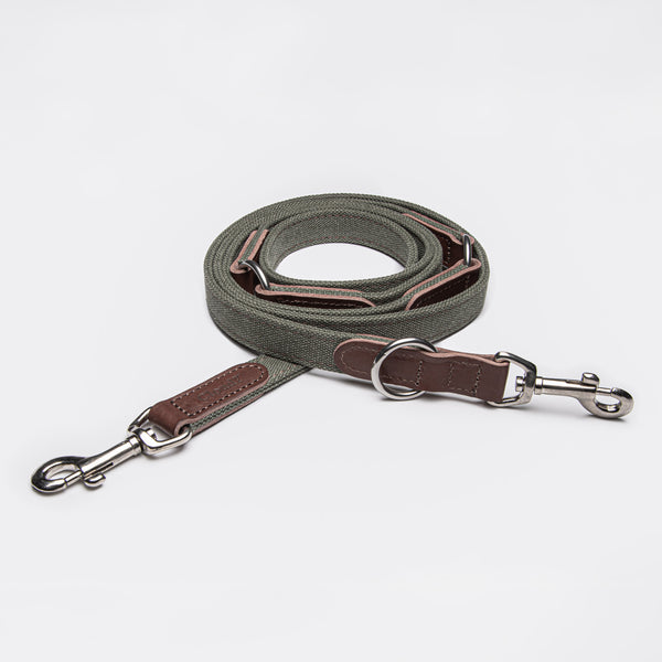 Cloud7: Tivoli Dog Leash in Canvas Leather, Olive