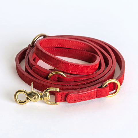 Cloud7 Tiergarten Nubuck Dog Adjustable Leash in Cherry Red