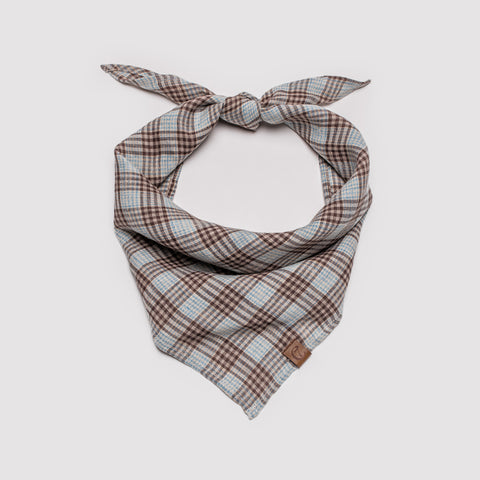 Cloud7 Dog Bandana Check Dark Brown with Cyan