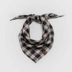 Cloud7 Dog Bandana Check Dark Blue with Beige