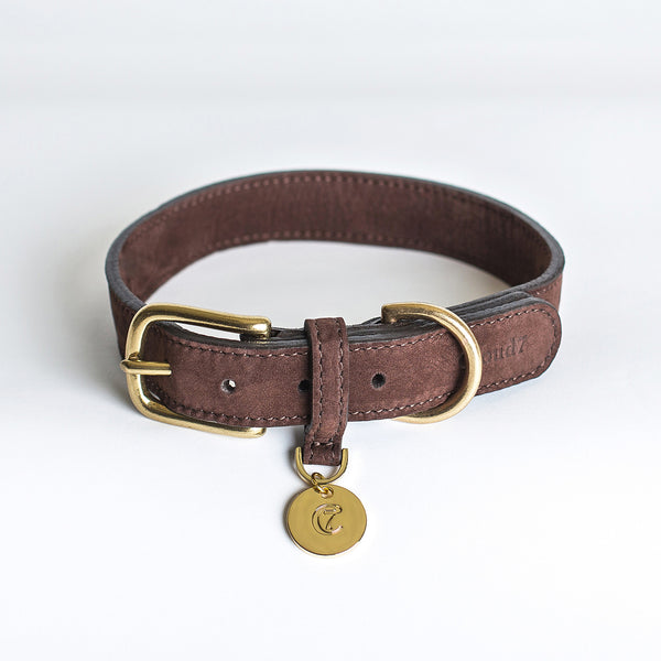 Cloud7 Tiergarten Nubuck Dog Collar in Mocca