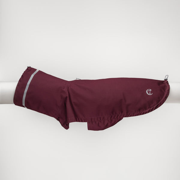 Cloud7 London Dog Rain Coat with Belly Protector in Bordeaux