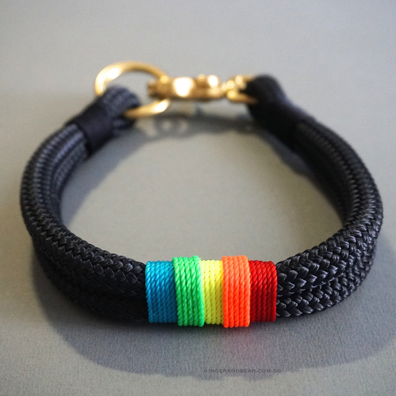 Rugged Hudson Collar: Rainbow on Navy