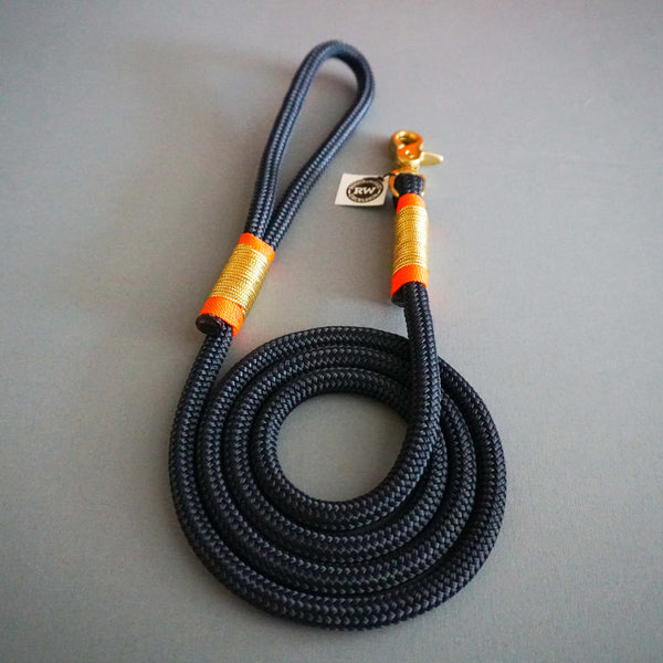 Rugged Hudson Leash: Gold with Fluorescent Citrus