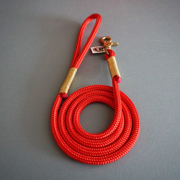 Rugged Wrist Hudson Dog Leash: Gold and Red Rope