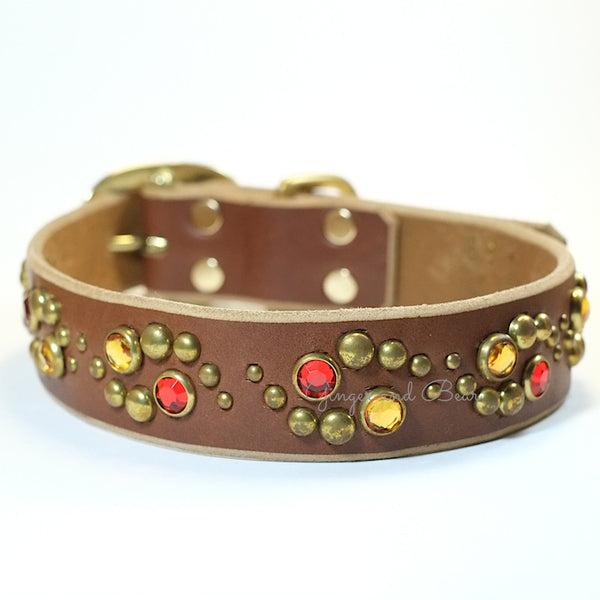 Paco Leather collar - Glow