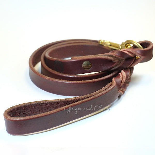 Paco Leather leash - Burgundy Brown