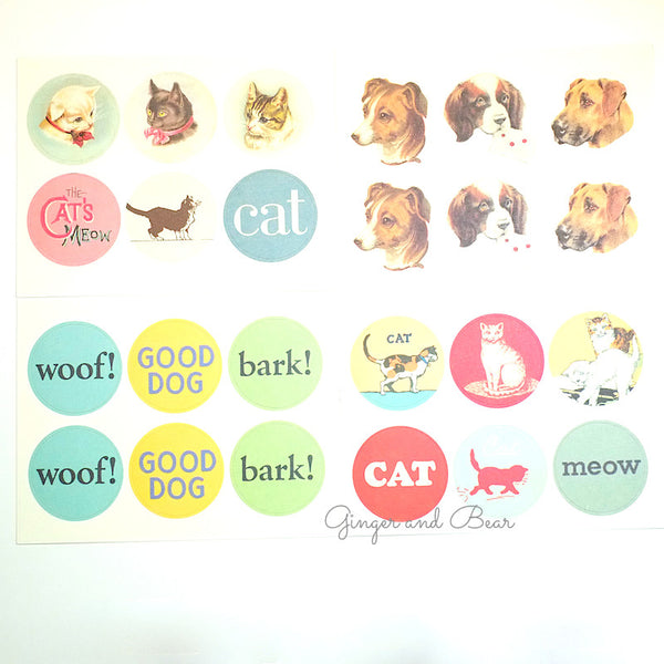 Stationery: Cavallini Vintage Dogs & Cats Stickers