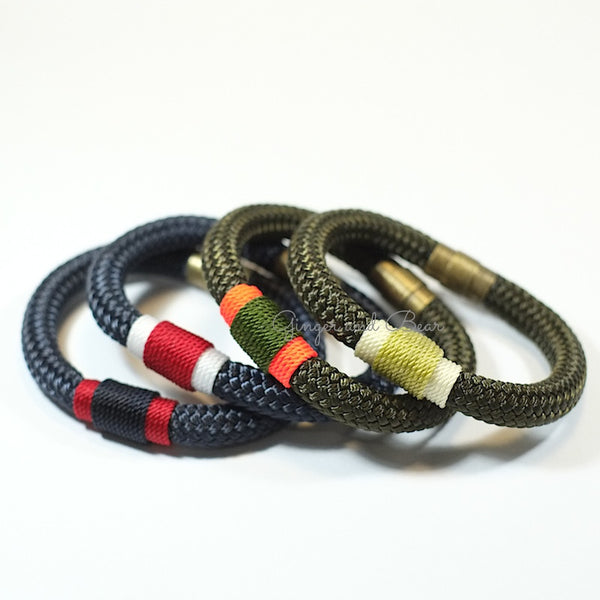 Rugged Eleanor Bracelets: Red&White Navy