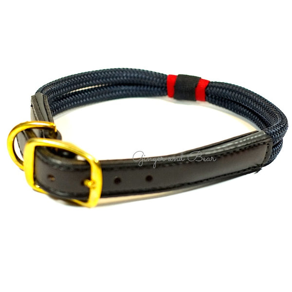 Rugged Hudson Collar: Patriot Navy with Leather buckle