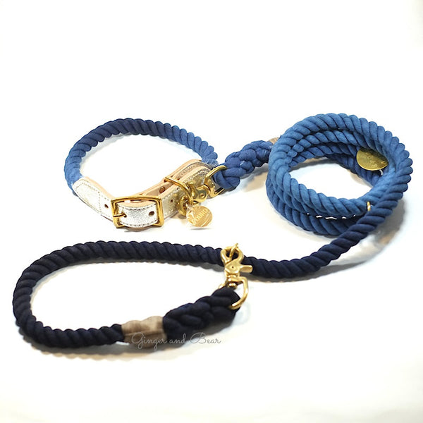 Adjustable Rope Leash, Solid Blue Ombre