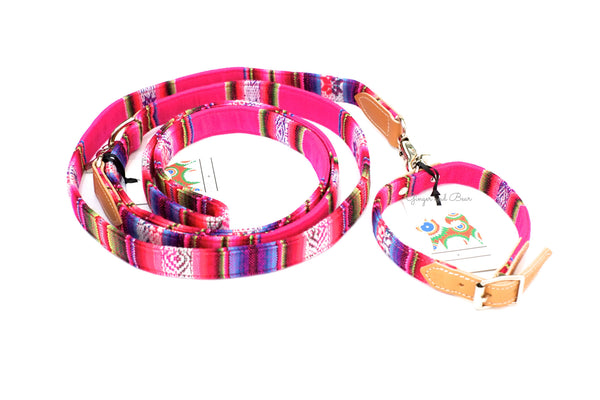 Hiro+Wolf Hands-free leash: Pink Inca