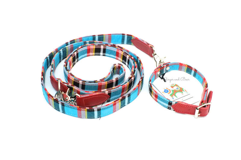 Hiro+Wolf Classic leash: Masai Blue Check