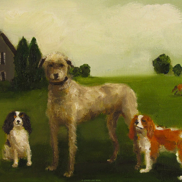Art print, The Dogs Of Black Walnut Manor- Gertie, Douglas, and Little Bess