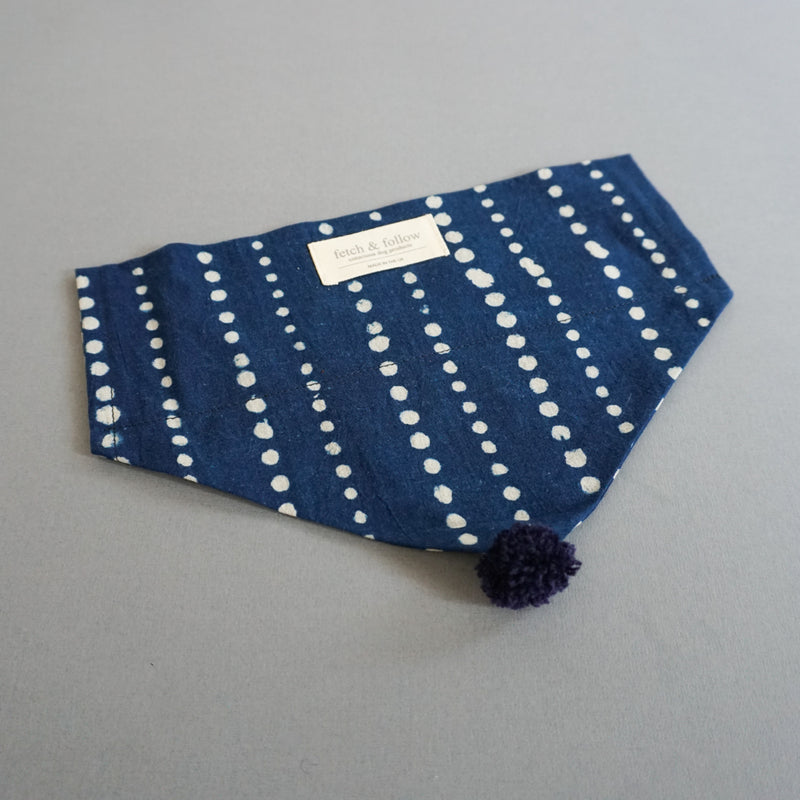 Fetch And Follow Indigo Block Printed Neckerchief Running Spot with PomPom