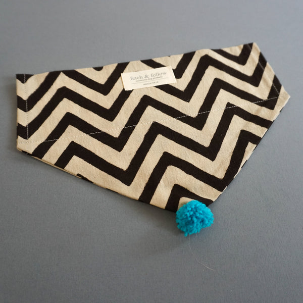 Fetch And Follow Indigo Block Printed Neckerchief ZigZag with PomPom