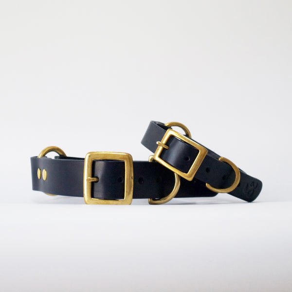 Leather Dog Collar, Navy