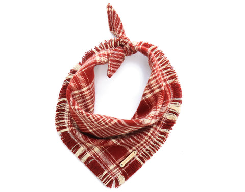Foggy Dog Cat Burgundy Plaid Flannel bandana