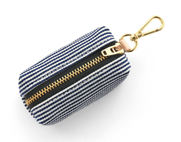 Dog Poop Bag dispenser: Denim Railroad Stripe