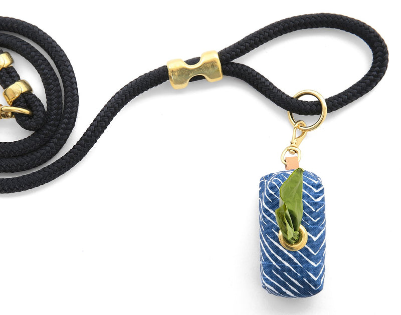 Foggy Dog Navy Herringbone Leash Poop Bag Dispenser
