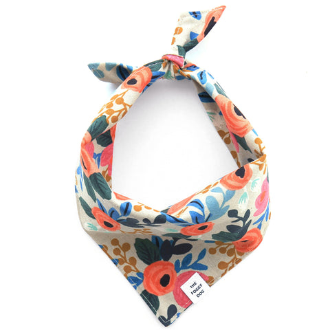 Foggy Dog Rosa Floral Natural bandana