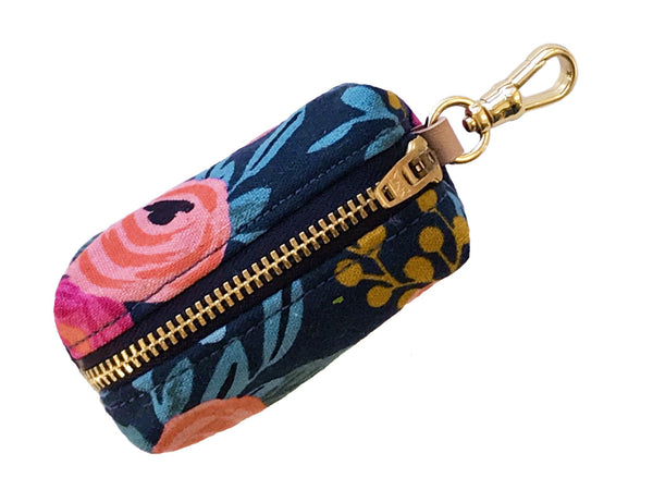 Foggy Dog Rosa Floral Navy Leash Poop Bag Dispenser