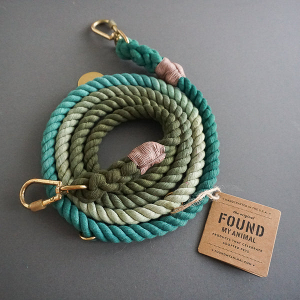 Found My Animal Cotton Rope leash Olive Emerald Ombre for Dogs