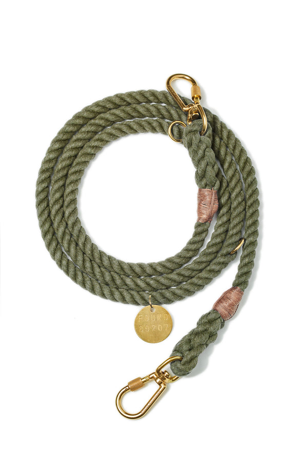 Found My Animal Upcycled Rope leash Olive for Dogs