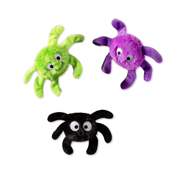 Mini Creepy Crawly Spiders, Dog Squeaky Plush toy