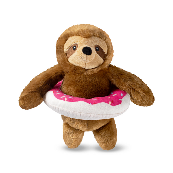 Donut Worry It's Pool Time Sloth, Dog Squeaky Plush toy