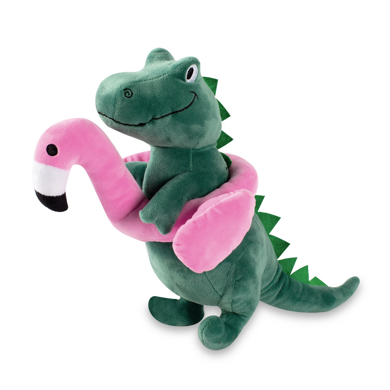 Flamingo Fun Rex, Squeaky Plush Dog toy (Large)
