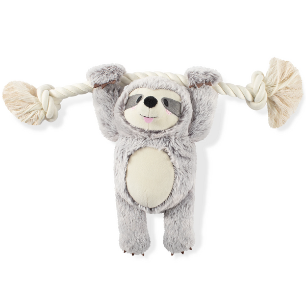 Girly Sloth on Rope, Dog Squeaky Plush toy