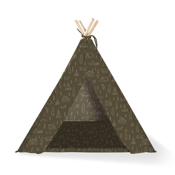 Canvas Tee Pee for Dogs and Cats: Happy Camper