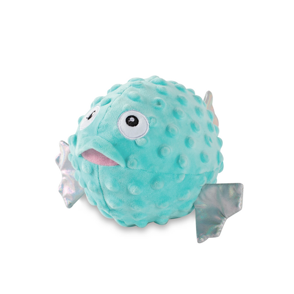 Puffed Up Puffer Fish, Squeaky Plush Dog toy