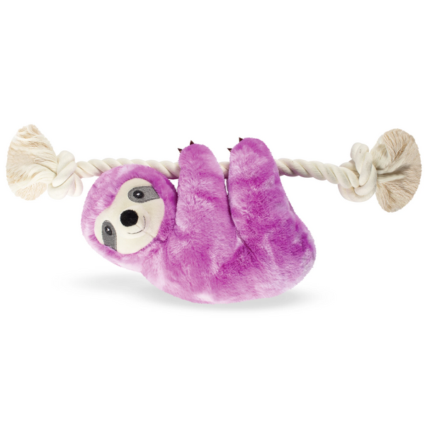 Glowing Glenda the Purple Sloth, on a Rope Dog Squeaky Plush toy